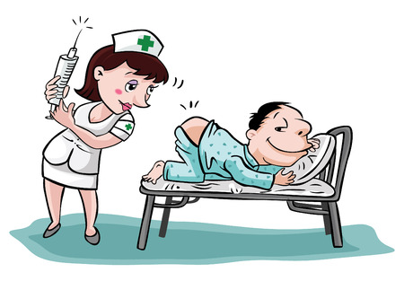 unwell: nurse with patient