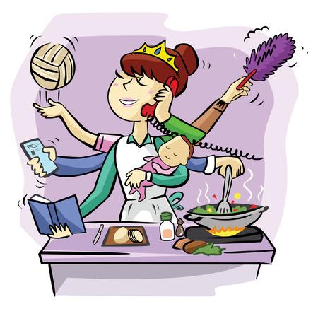 忙しいママ  イラスト・ベクター素材