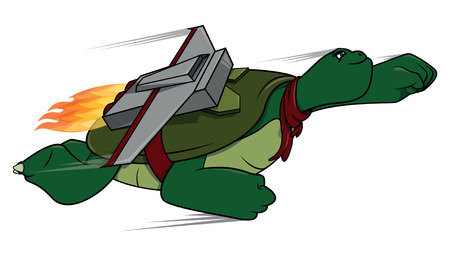 turtle isolated: Flying Turtle cartoon illustration
