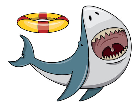 cartoon shark: Shark playing Illustration