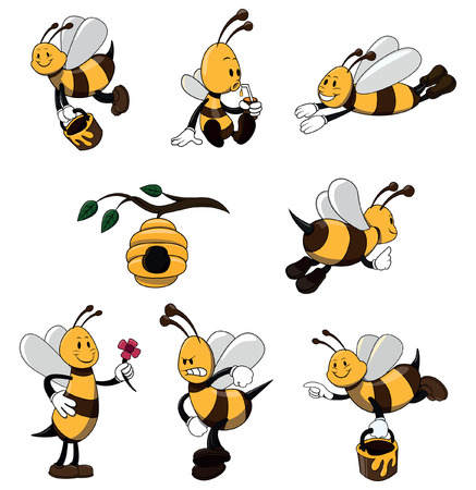 large group of animals: Bee Character set collection