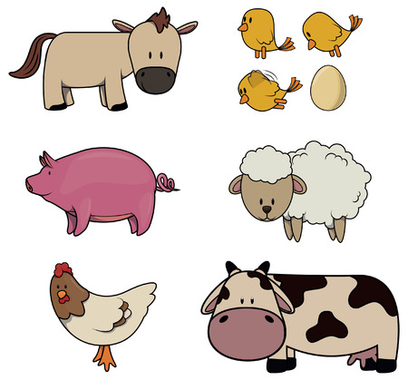 horse cock: Farm Animal : Horse,Chicken,Pig,Sheep,Rooster and cock Illustration