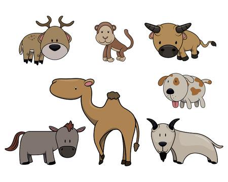 white tail deer: Cute animals set : deer,monkey,buffalo,dog,camel,goat and donkey