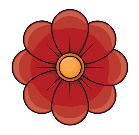 flor morada: Ilustración de dibujos animados de la flor