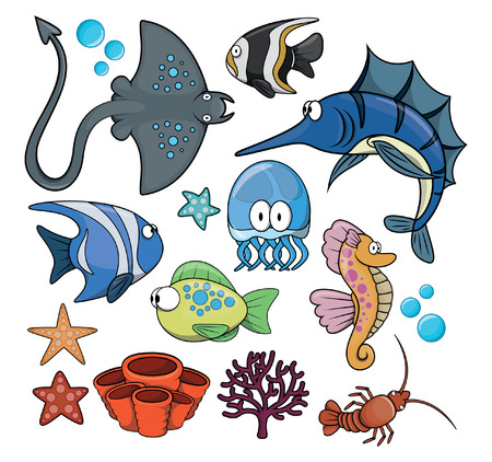 under water: Under water fish set