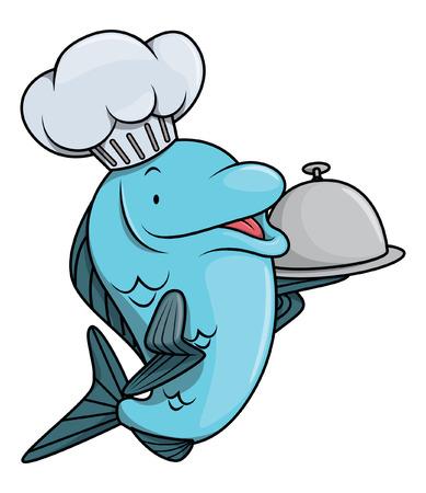 sardine: Fish cartoon illustration for restaurant Illustration