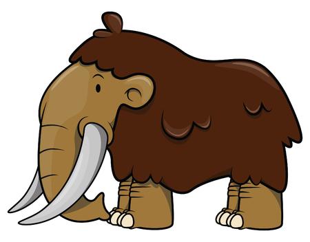 wooly mammoth: Big Mammoth cartoon illustration isolated white