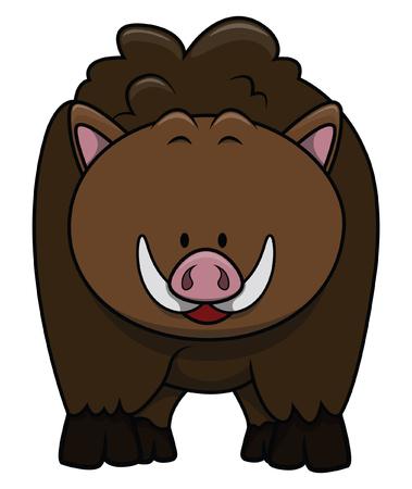 bush hog: Wild boar cartoon illustration isolated white