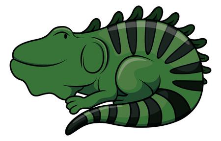 reptilian: Iguana cartoon illustration isolated white