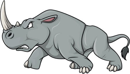 angry cartoon: Angry Rhinoceros cartoon illustration