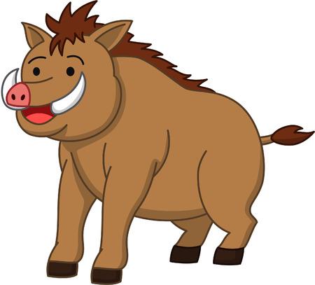 bush hog: Wild boar cartoon illustration