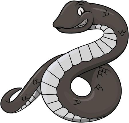 constrictor: Black snake cartoon illustration design