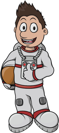 outer clothing: Astronaut Boy cartoon illustration design