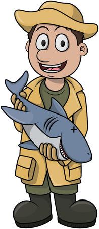 Fischer Boy Cartoon Vektorgrafik
