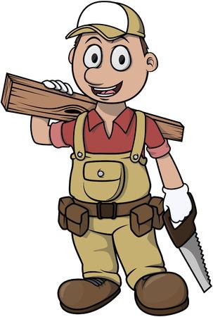 carpenter tools: Carpenter boy cartoon illustration design Illustration