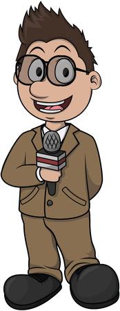 reportero: Reportero de dise�o de dibujos animados hombre