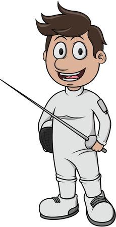 fencing: Fencing sport - Cartoon Illustration Illustration