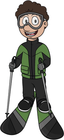 sport cartoon: Ski sport - Cartoon Illustration