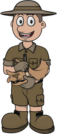 paleontologist: archaleogist vector cartoon illustration design