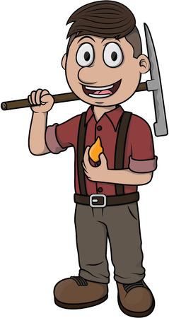profesional: Gold miner vector cartoon illustration design Illustration