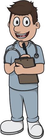 Nurse man vector cartoon illustration design Illustration