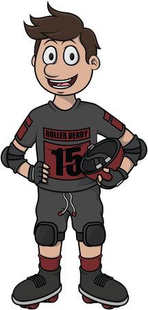 profesional: Roller derby vector cartoon illustration design