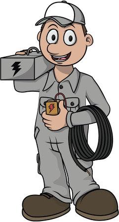 electricista: Trabajador electricista de dibujos animados de vectores
