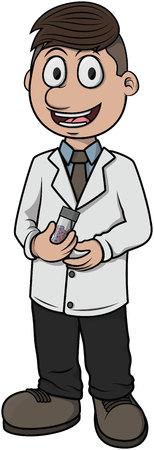 druggist: Pharmacist vector cartoon illustration