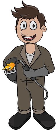 Welder vector cartoon illustration
