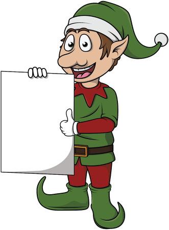 christmass: Christmass efl cute cartoon holding banner Illustration