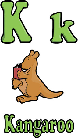 animal pouch: k two and kangaroos were reading books Illustration