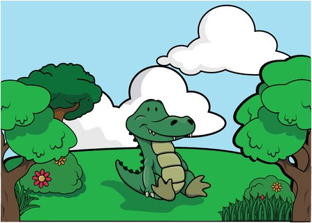 angry sky: Crocodile and Forest scenery