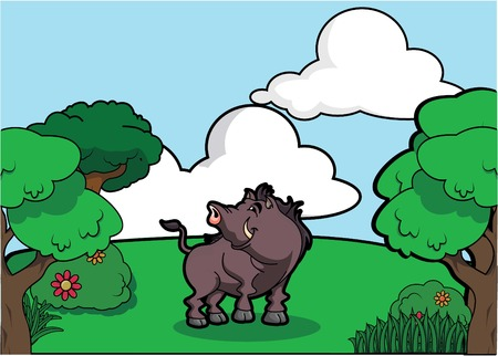 angry sky: Wildboar and Forest scenery