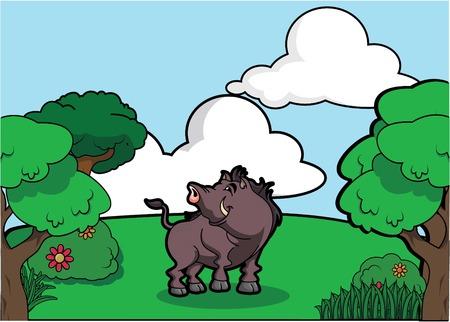 bush hog: Wildboar and Forest scenery