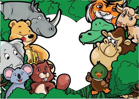 animal: Animal group forest scenery Illustration