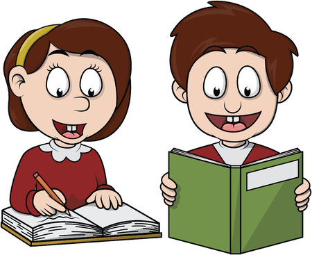 school class: Boy and girl learns Illustration