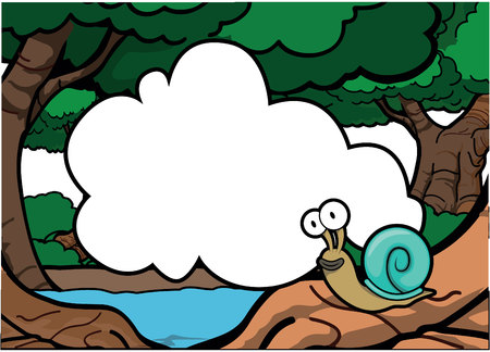 mollusk: snail around forest with blank banner