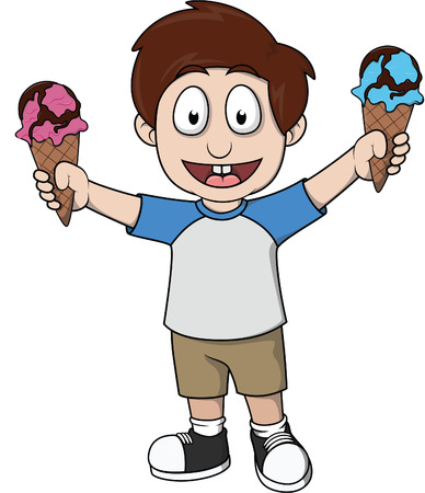 two child: child holding two ice cream