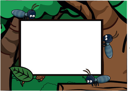 show plant: Ants around Exotic Forest Scenery Illustration