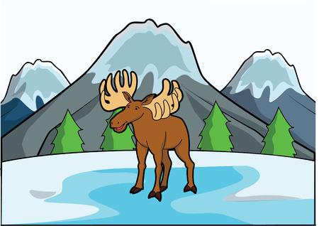 fallow: deer with ice mountain scene