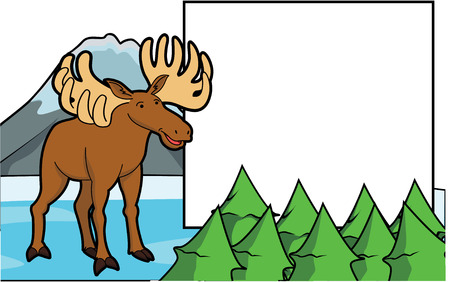 fallow: deer at ice mountain scene with blank space