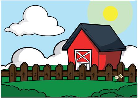 old barn: farm house scenery Illustration