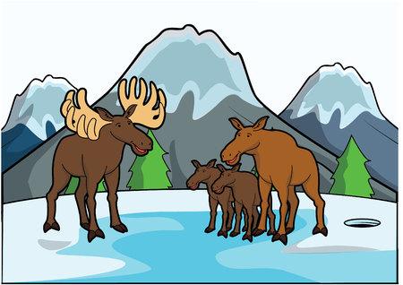 fallow deer: ice deer with ice mountain scene Illustration