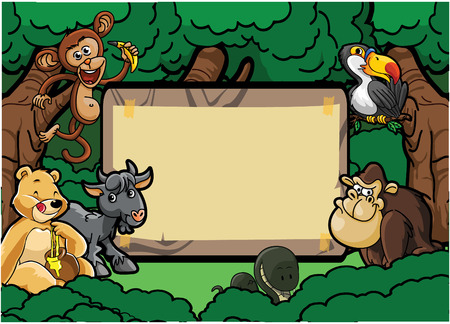 gorila: Wild animal group forest scene with wood banner