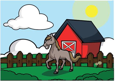 farmyard: Horse with barn house scenery
