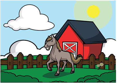 Horse with barn house scenery