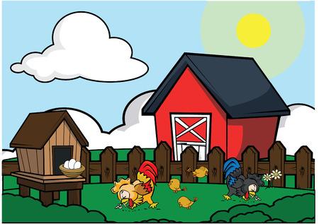 granja avicola: casa de campo de aves de corral