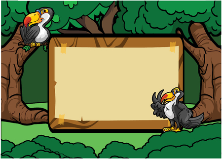 tucan: Toucan bird forest scene with wood banner Illustration