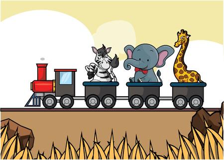 safari animal: train tour savanah animal safari Illustration