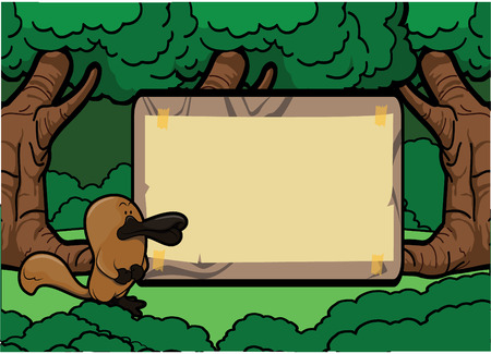 platypus: Platypus forest scene with wood banner Illustration